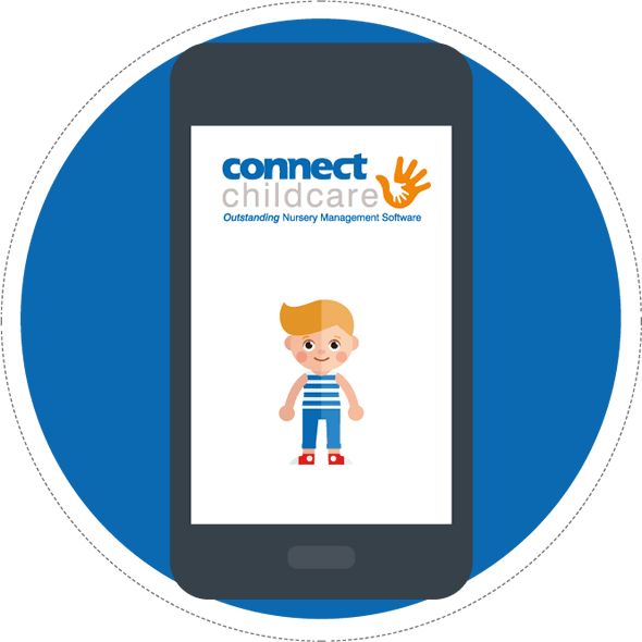 preschool child on Connect Childcare phone