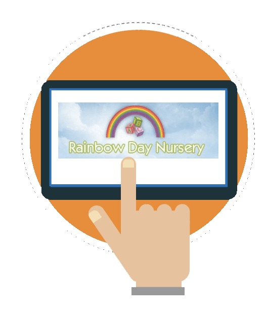 Rainbow Day Nursery Logo Graphic on Tablet
