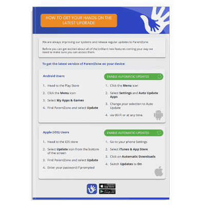 Document image for how to upgrade ParentZone