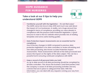 GDPR Guidance for Nurseries factsheet cover