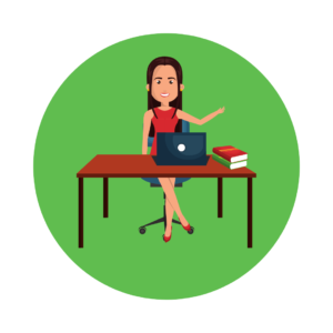 Lady at desk icon